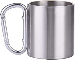 TargetEvo 7.5oz Small Stainless Steel Carabiner Mug Cup With Carabiner Hook For Outdoor Camping Hiking