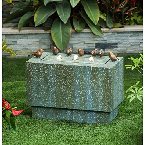 Winsome House Stone and Patina Rectangular 18in. H Fountain with LED Lights and Bronze Birds