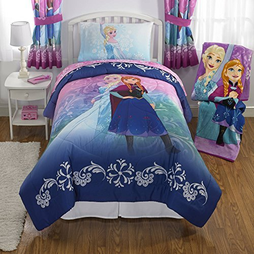 NEW! Disney Frozen Full Size Nordic Frost Bedding Set Made of 100% Polyester with Reversible Comforter, Flat Sheet, Fitted Sheet and Pillowcase -