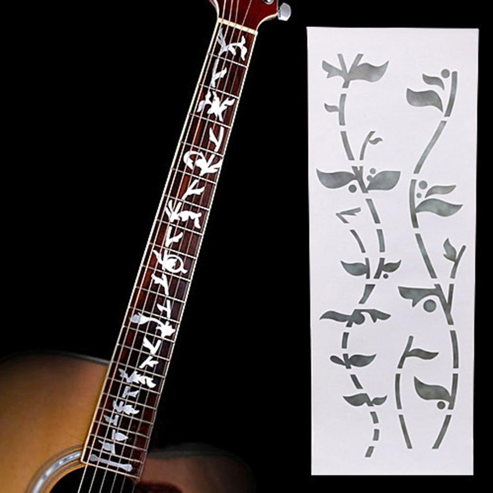 WXLAA Fretboard Sticker Guitar Fretboard Cross Inlay Marker for Acoustic Electric Bass Classical Guitar Silver Tree