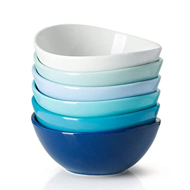 Sweese 102.003 Porcelain Bowls - 18 Ounce for Cereal, Salad - Set of 6, Cool Assorted Colors