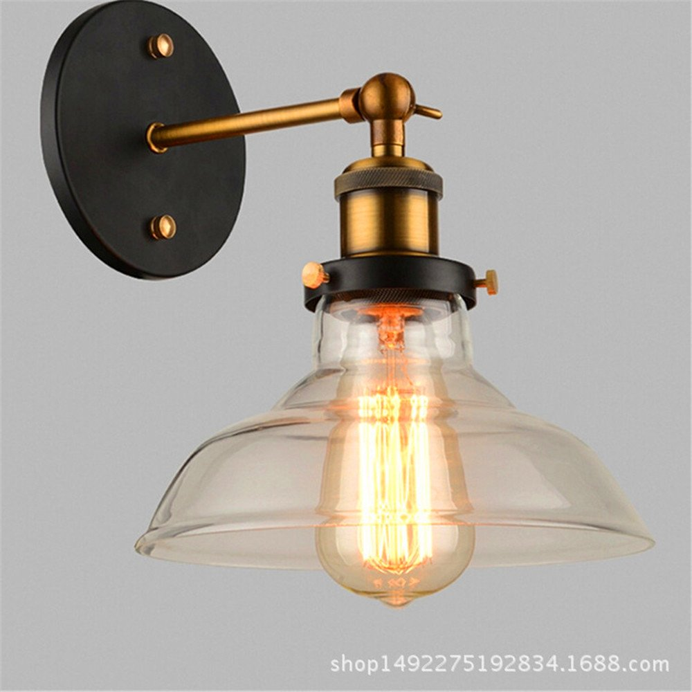 Avanthika e27 wall sconces mounted wall lamps retro industrial wind glass wall lamp transparent glass wall lights amber amazon com