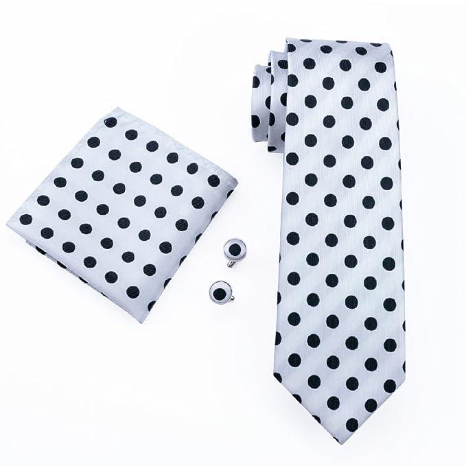 caofenvoo Hombres de negro blanco lunares corbata JACQUARD tejido ...
