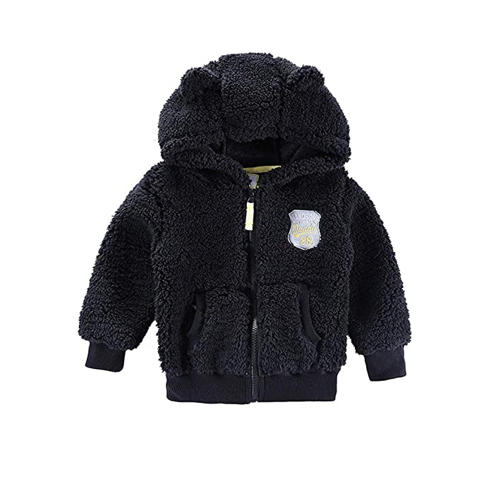 Warm Children Winter Wadded Jacket Tops,Kids Boys Girls Long Sleeved Hooded Zipper Coat Outwear age:3-4 Years, Black