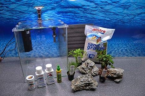Wave caja Cubo 30 Nano Acuario Incluye Decoración Completo Sistema de filtro de acuario