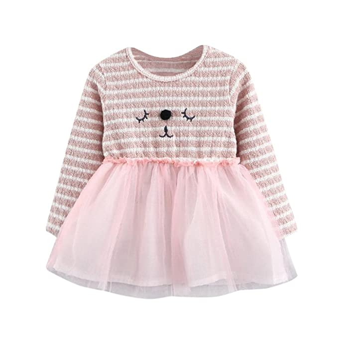 c828990d90ac Amazon.com  Konfa Toddler Baby Girls Cartoon Cat Striped Dresses ...