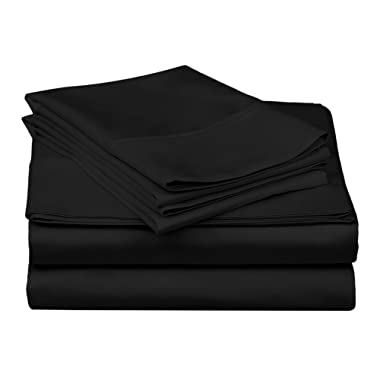 Superior 100% Premium Combed Cotton, 300 Thread Count 4-Piece Bed Sheet Set, Single Ply Cotton, Deep Pocket Fitted Sheets, Soft and Luxurious Bedding Sets - King, Black
