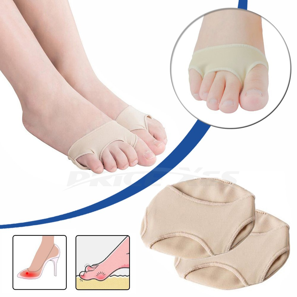 Metatarsal Foot Pads & Forefoot Cushion, Anti-Slip Toe Gel Pad Bunion Sleeves Protectors, 3 Holes Toe Separators Anti-Friction Metatarsal Ball of Foot Cushioning for Neuromas Plantar Calluses Corn (S)