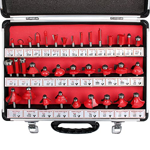 - Proster 35pc Router Bits Set Tungsten Carbide Tipped 1/4
