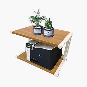 FADDA Printer Stand Desktop Shelf for Printer Desk Organizer Shelf Storage Shelf Book Shelf for Home Office Printer Desk with 4 Cushion, 2 Tier (Walnut)