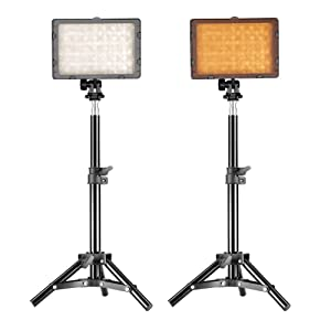 "Neewer Photography 160 LED Studio Lighting Kit, Including (2) CN-160 Dimmable Ultra High Power Panel Digital Camera DSLR Camcorder LED Video Light (2) 32"" / 80cm Tall Studio Light Stand"
