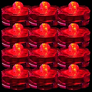 TDLTEK Waterproof Submersible Led Lights Tea Lights for Wedding, Party, Decoration (24 Pieces Red)