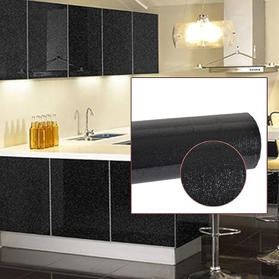 Autoadhesivo con acabado brillante para puertas de armario de cocina, negro, 61cm*10m: Amazon.es: Hogar