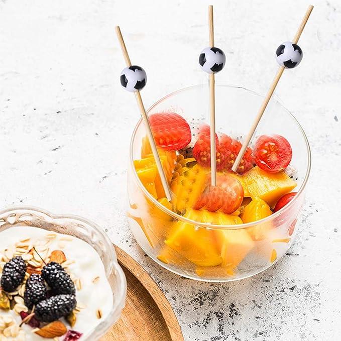 in Legno di bamb/ù Dessert Bastoncini da Cocktail antipasti per Cocktail a Forma di Pallone da Calcio kuou Frutta