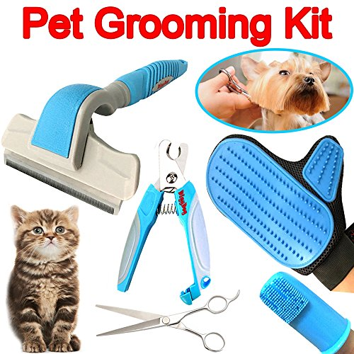 Pet Dog Grooming Kit Supplies - Professional Deshedding Brush, Grooming Massage Glove for Cats & Dogs, Small or Large Dog Nail Trimmer Clippers, Finger Toothbrush, Dog Grooming Shears or Scissors ()