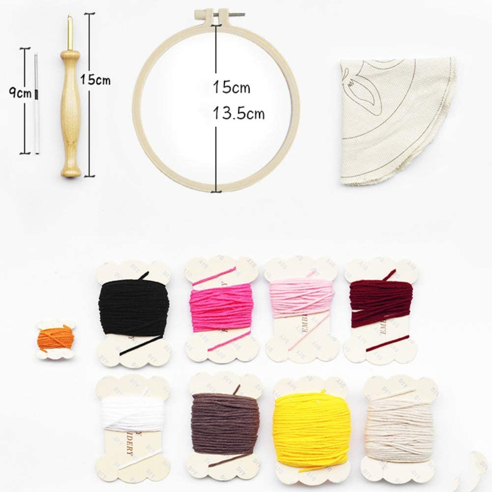 Escolourful DIY Knitted Fabric Hand Embroidery Decompression Toy DIY Rug Hooking Kit Latch Hook Kit Woolen Embroidery Kit with Tools Gift for Adults Kids Beginner