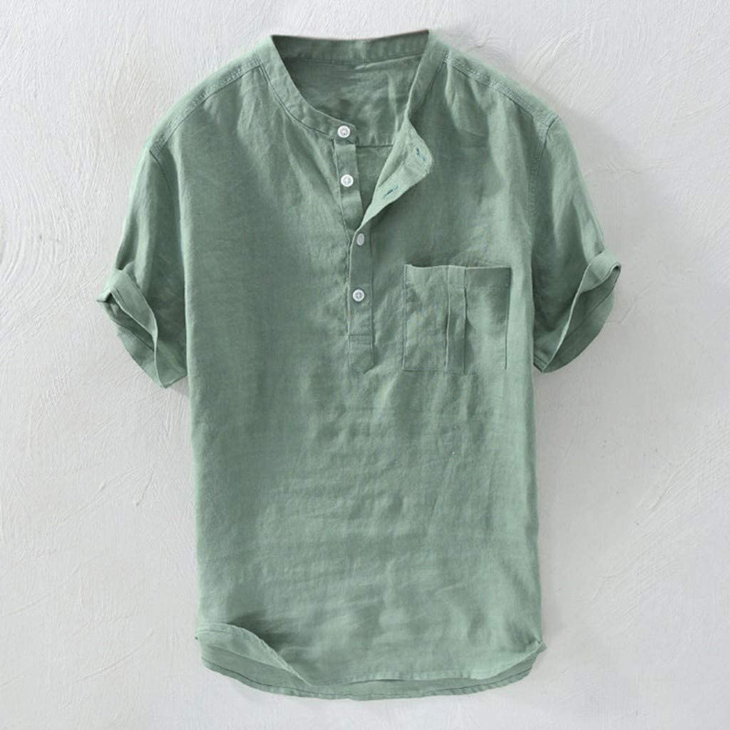 Hmlai Clearance Mens Shirts Casual Fashion Short Sleeve Button Solid Plus Size Linen Beach Blouse Top Tee