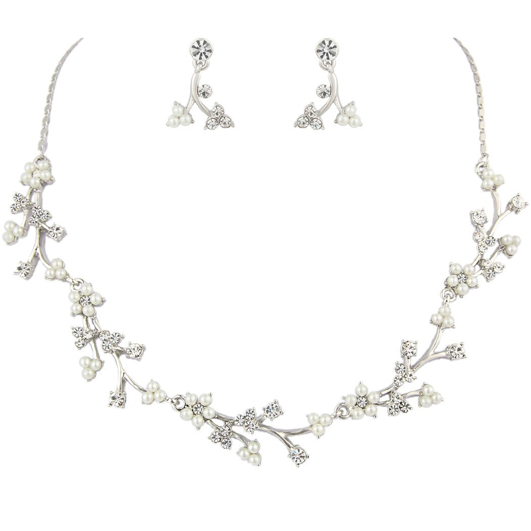 Flyonce Women's Crystal Simulated Pearl Bridal Flower Vine Filogree Necklace Earrings Set Clear Silver-Tone 13000870-1