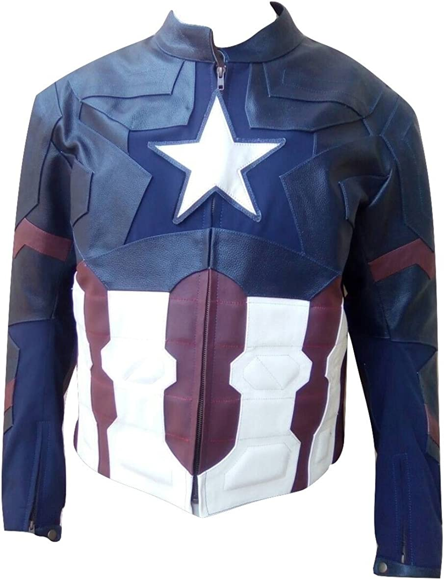 Bestzo Mens Fashion Age of Ultron Genuine Leather Jacket Blue