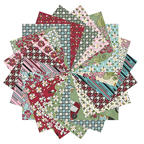 Riverwoods Collection Fabric.com Glamping Gypsies 2.5in Square Precut Multi - -