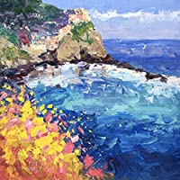 Cinque Terre Italy Prints Manarola Seascape Canvas Wall Art of my Original Painting Impressionist Sea Artwork for Home Decor Kitchen Living-room Gifts for Women Men Christmas Present - Agostino Veroni