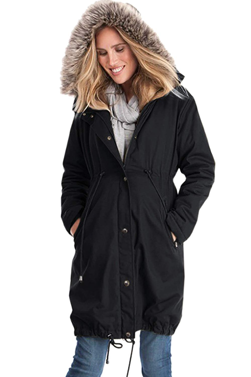 Zilcremo Womens Winter Kangaroo Trenchcoat Faux Fur Hooded Padding Jackets Outercoat