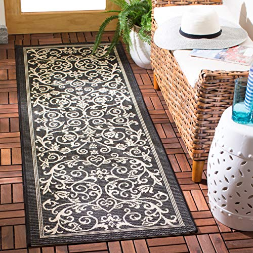 - Safavieh Courtyard Collection CY2098-3908 Black and Sand Indoor/ Outdoor Area Rug (2' x 3'7