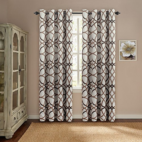 H.Versailtex Thermal Insulated Blackout Grommet Curtain Drapes for Living Room-52 inch Width by 84 inch Length-Set of 2 Panels-Taupe and Brown Geo Pattern (Ideas Room Living For Curtain Blue)