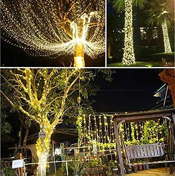 Cuerda de alambre de cobre solar 15 metros 150 luces luces de decoración de jardín luces LED luces de decoración de fiesta de fiesta luces: Amazon.es: Iluminación