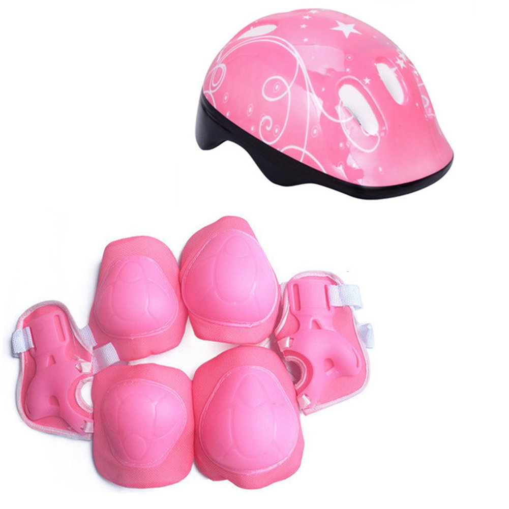 Yooha Kids Sport Protective Gear Set,7Pcs Kids Bicycle Helmet Protective Gear Set,Ultralight Adjustable Safety Helmet Knee,Elbow,Wrist Guards, for Multi Sports Skateboarding Cycling Skating(Pink)