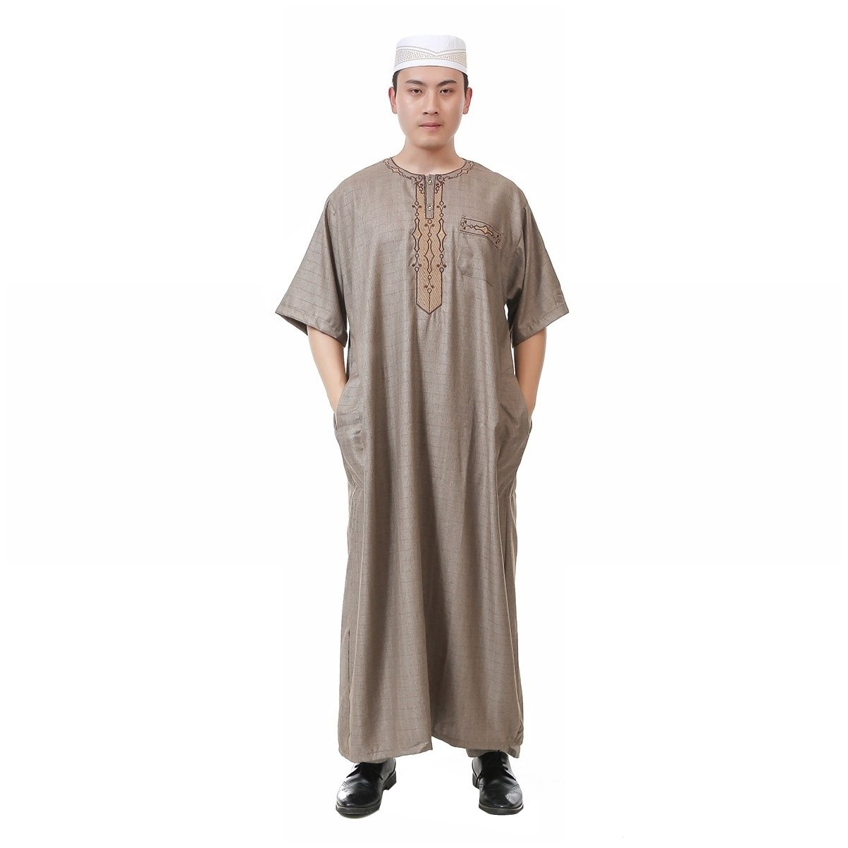 Coolred Men's Short-Sleeve Cotton Linen Blend Summer Plaid Muslim Thobe Coffee 56