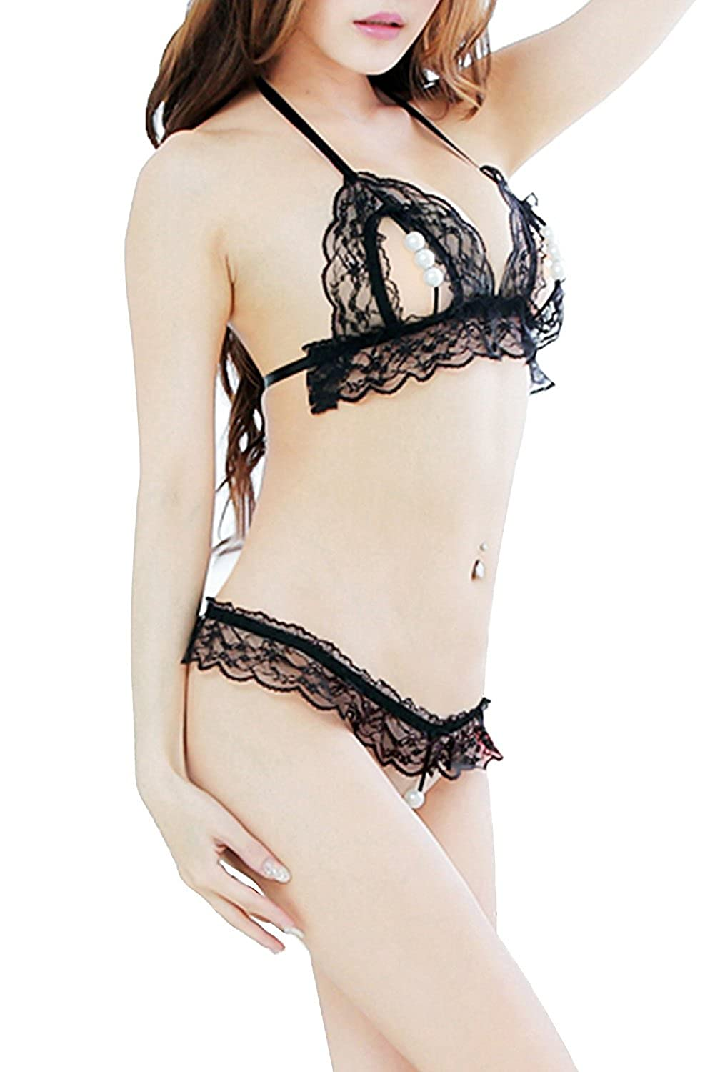 14929d0fe Amazon.com  TOGIC Fashion Women 3 Pearls Lingerie set Transparent Lace  Sleepwear Thong B0007-blackOne Size  Clothing