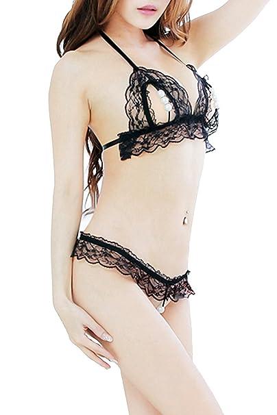 TOGIC Fashion Women 3 Pearls Lingerie set Transparent Lace Sleepwear Thong  B0007-blackOne Size 8fea9af990f