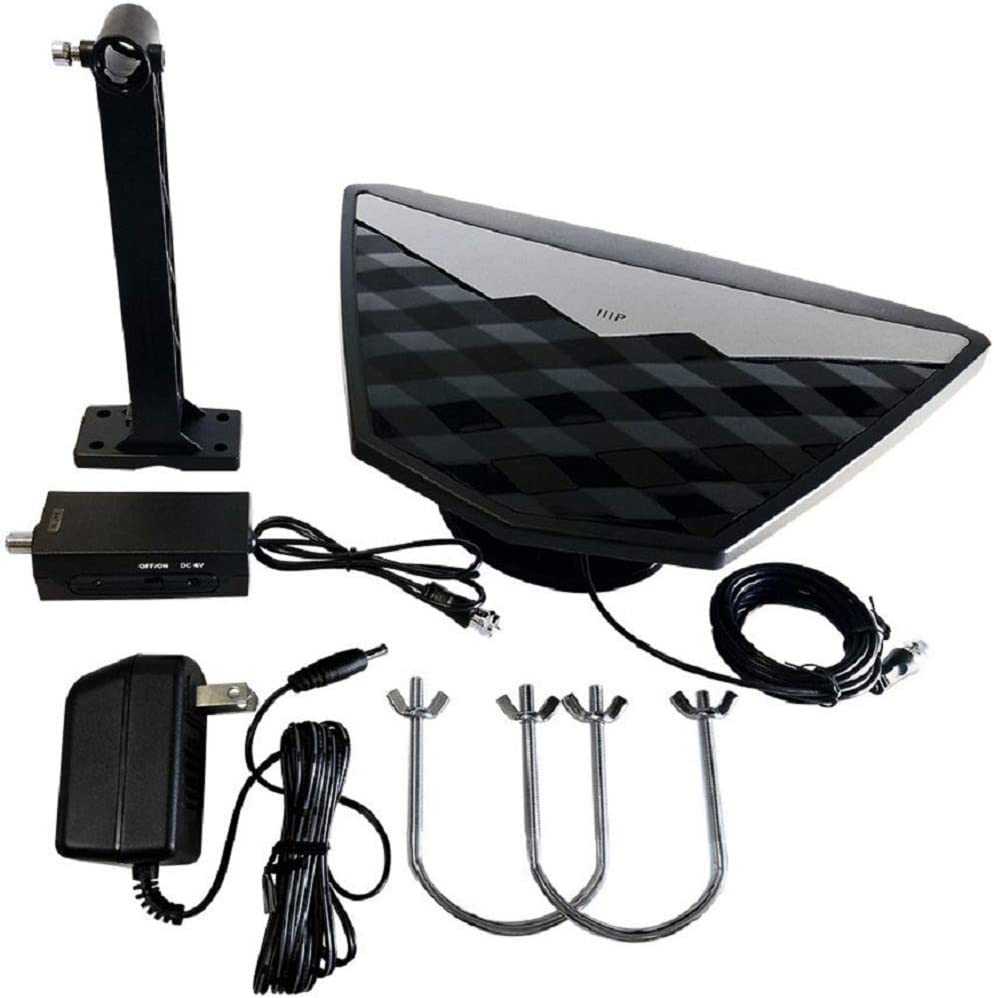 Monoprice Active Indoor/Outdoor HD6 HDTV Antenna, 50 Mile Range, Video Antenna (115953) Black