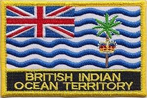 Territorio Británico del Océano Índico bandera parche rectangular bordado insignia/Sew encendido o hierro EN–Diseño exclusivo de 1000banderas