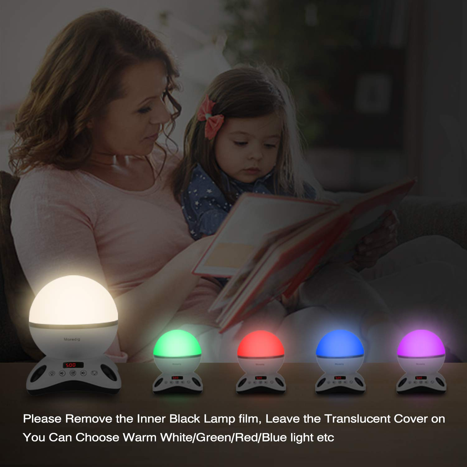 Parties Black White Moredig Night Light Projector Remote Control and Timer Design Projection lamp Built-in 12 Light Songs 360 Degree Rotating 8 Colorful Lights Children Kids Gift for Birthday