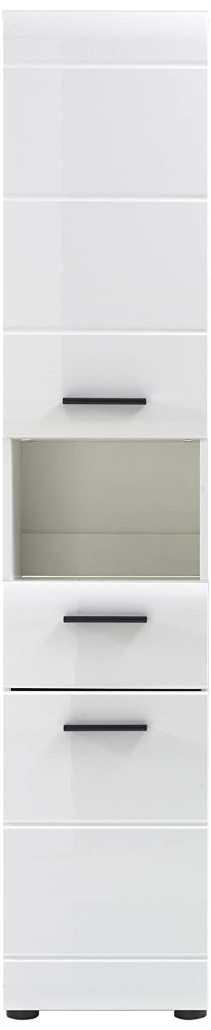 Furnline Skin High Gloss Bathroom Furniture Tall Cabinet, White 1116-103-01