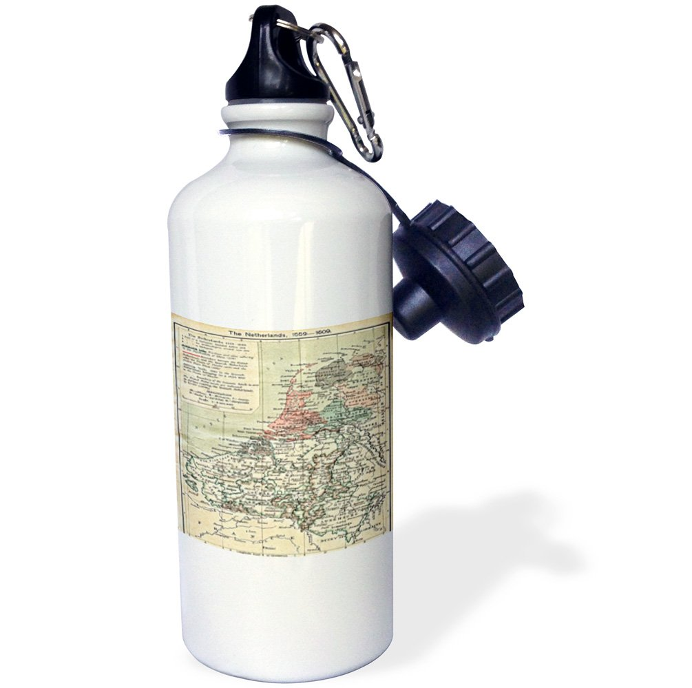 wb/_195756/_1 21 oz Multicolor 21oz 3dRosePrint of Netherlands Map From 1559 to 1608 1608-Sports Water Bottle