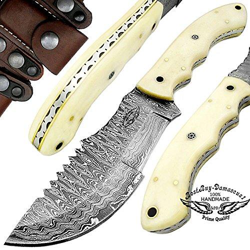 10' Damascus Blade (Camel Bone 10'' Fixed Blade Custom Hand made Damascus Steel Hunting Tracker Knife 100% Top Quality)