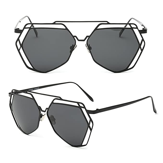 1a611c1eec Youtato Womens Polarized Sunglasses Fashion Mirror Lens Metal Frame UV400  Black