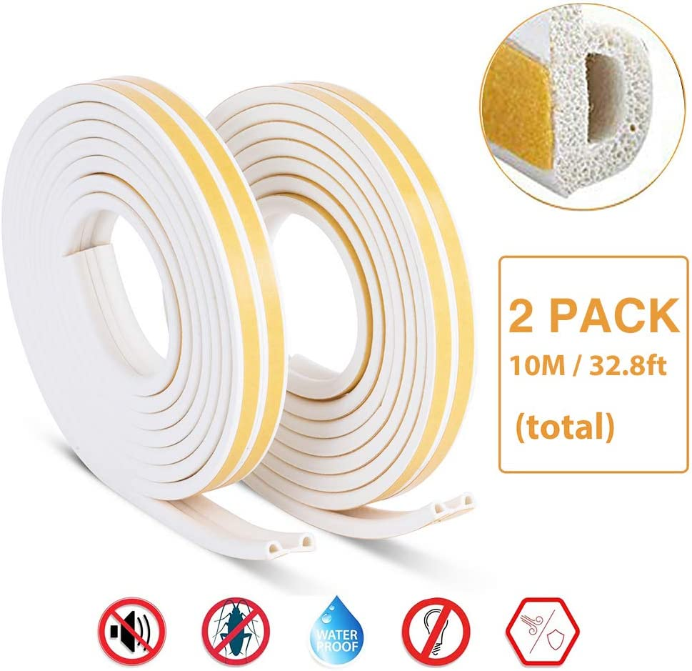 BesPart Door Draft Stopper Weather Stripping Self Adhesive Foam Window Seal Strip for Doors and Windows Soundproofing Weatherstrip Gap Blocker Sound Insulation White 2 Pack