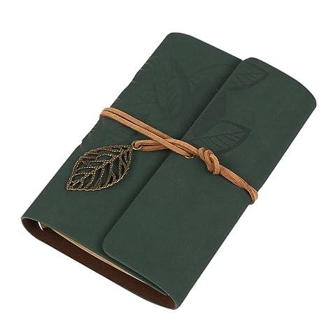 Demarkt Cuaderno Retro Diario Libreta Agenda Clásico Notebook(verde oscuro)