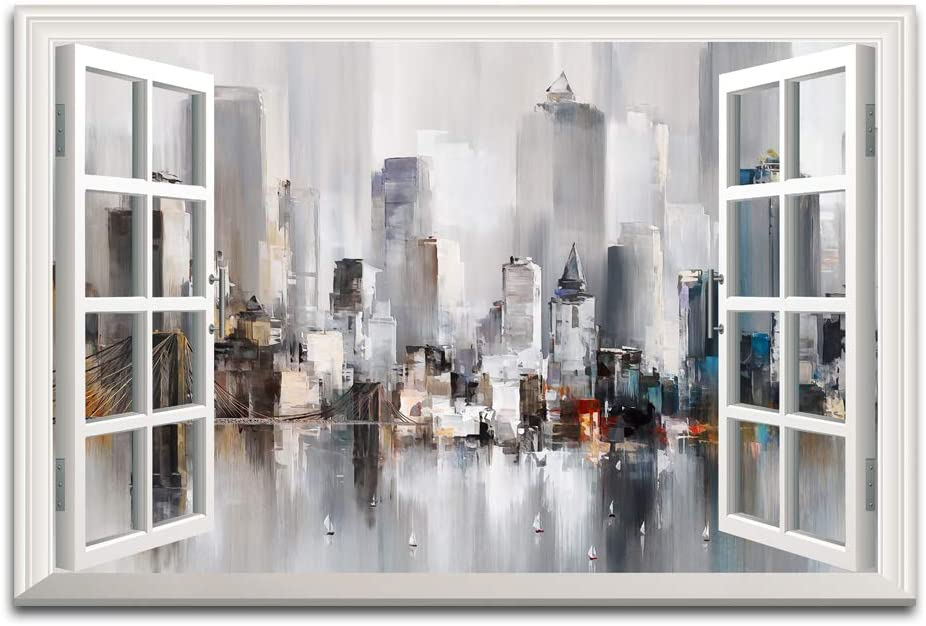 Window Frame Style Abstract Urban Landscape Canvas Wall Art New York Modern City Painting Decor Painting Living Room Office Poster Can be Hung - 36