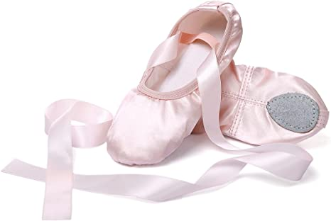 APTRO Ballet Shoes Split Sole with Satin Gymnastics Dance Shoes Flats for Girls Adults Red 5 UK 38