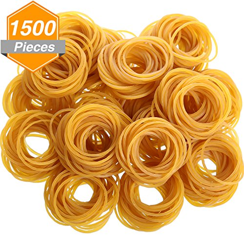 Gejoy 1500 Pieces Rubber Bands Stretchable Rubber Loop Bands for School Office Home Use, 50 mm by 1.5 mm, Dark Yellow by Gejoy