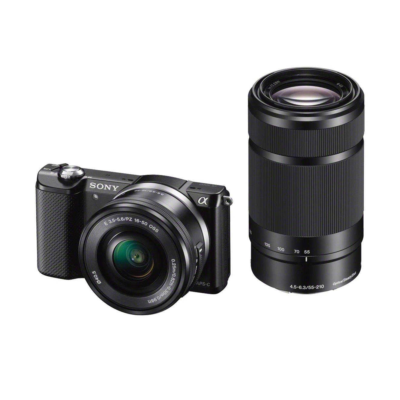 Sony Alpha 5000Y Fotocamera Digitale Compatta con Obiettivo Intercambiabile, Sensore APS-C CMOS Exmor HD da 20,1 MP, Obiettivi 16-50mm e 55-210mm inclusi, Nero product image