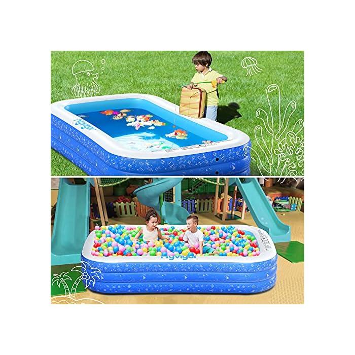 61IhdeLBPzS La piscina inflable tiene capacidad para 2 adultos y 3 niños (300 x 180 x 56cm) para disfrutar de una fiesta en la piscina en el patio trasero. Las criaturas marinas, los transbordadores espaciales y otros patrones de la superficie aumentan la diversión entre padres e hijos La Hyvigor piscina hinchable fabricada de material de PVC de alta resistencia que protege el medio ambiente, espesor 0.4 mm, un 50% más gruesa que la mayoría del mercado, lo que reduce el riesgo de pinchazos y garantiza una larga vida útil 3 cámaras de aire individuales de la piscina pueden soportar un peso adicional al tiempo que evitan las fugas de aire, sin deformación a altas temperaturas, utilizable en la playa