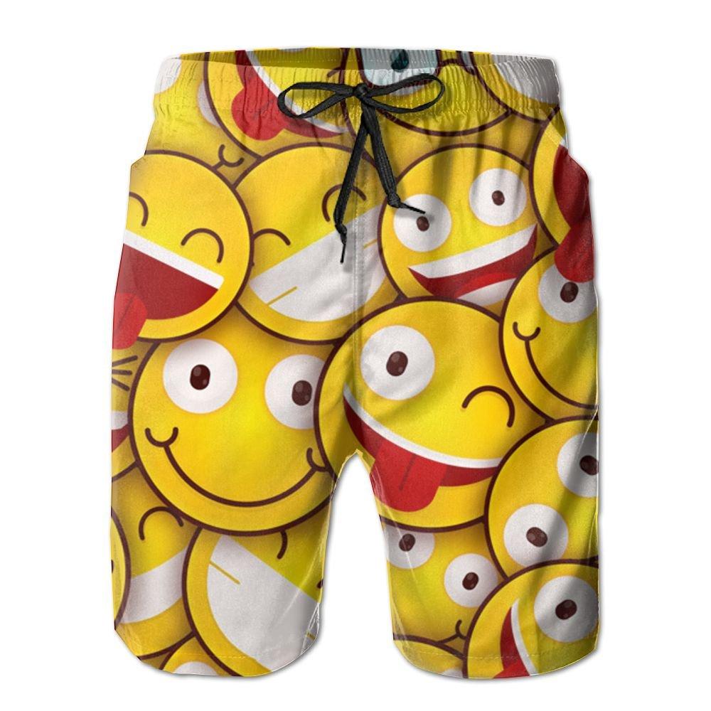NSYUR Mens Emoticons Summer Holiday Quick-Drying Swim Trunks Beach Shorts Board Shorts