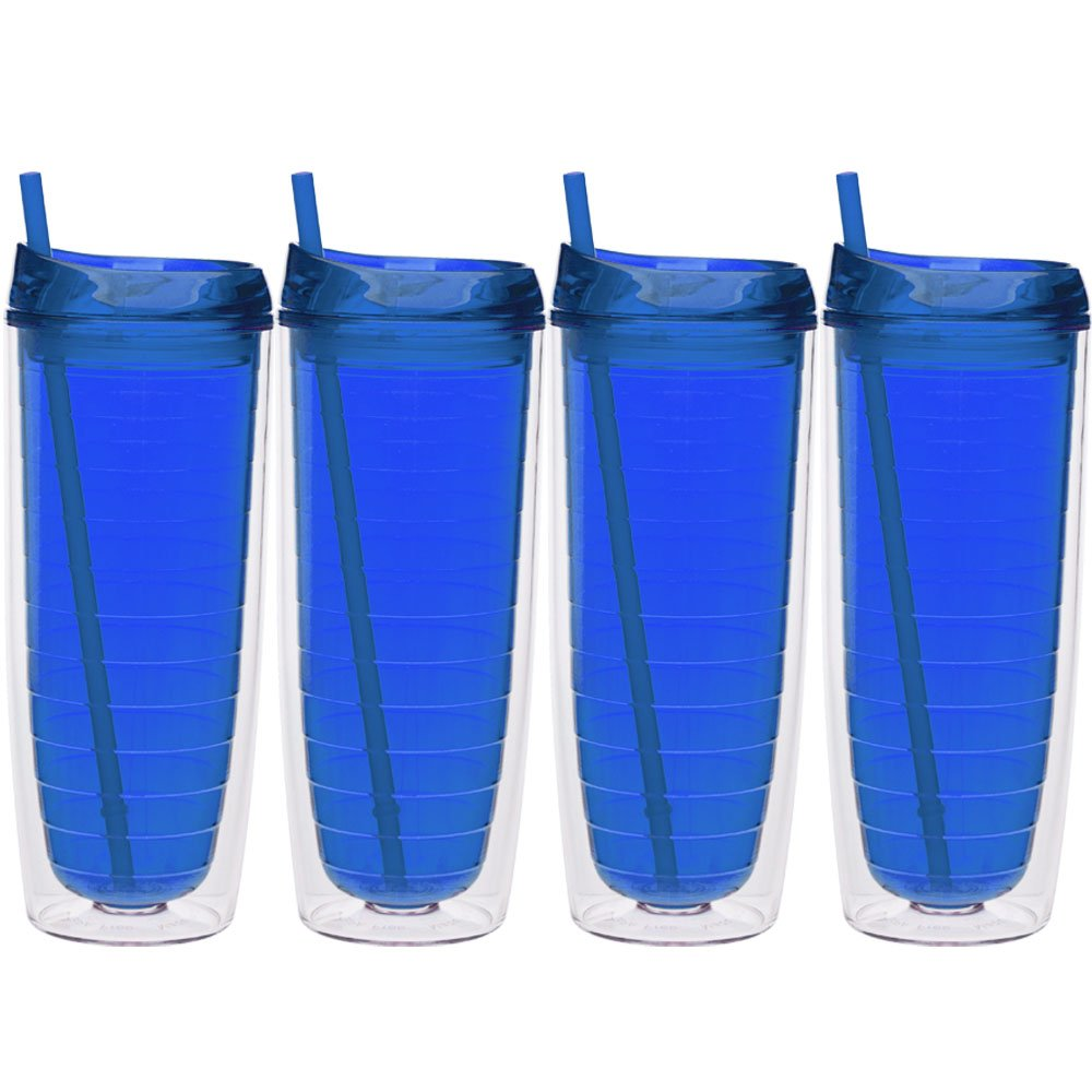 Culver Cool Cup Double Walled Insulated Tall Tumbler with Lid and Straw, 20-Ounce, Blue, Set of 4 A47084