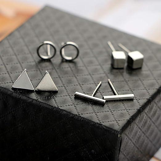 amatorial Simple Stud aretes conjunto geom/étrico tri/ángulo barra cuadrada pendientes anillo oro plata color 4 pares